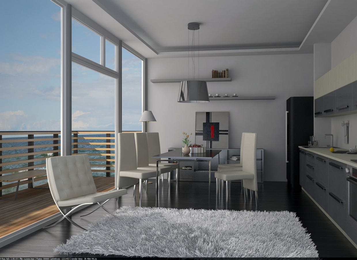 3d visualization of the project in the The kitchen is on the coast in Germany 3d max, render vray of dell_master