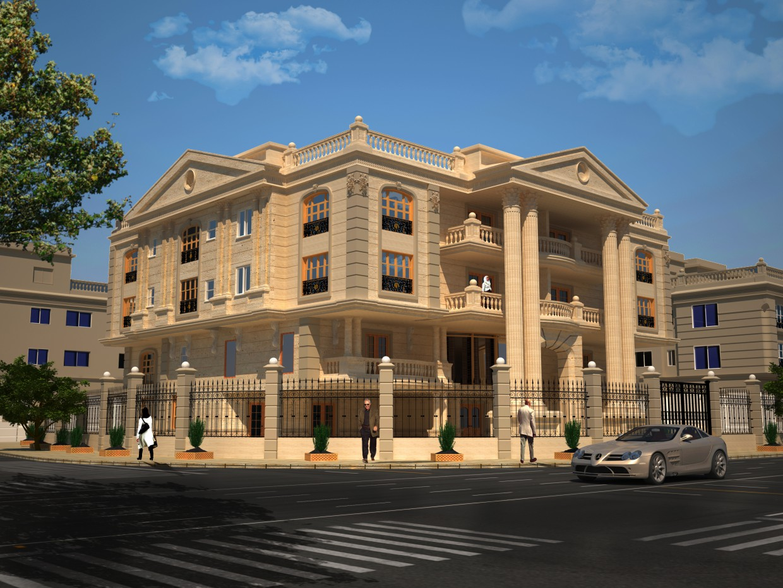 visualización 3D del proyecto en el Abo-El Naga Villa 3d max render vray Omar Adel