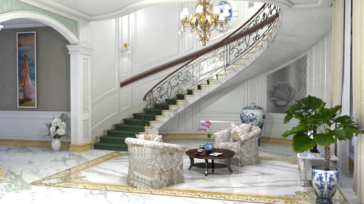 Living room with a twisted staircase in SketchUp vray 3.0 image