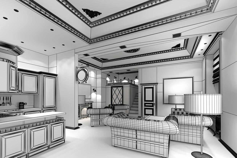 3d визуализация проекта гостиная-лофт в 3d max, рендер vray от Витус
