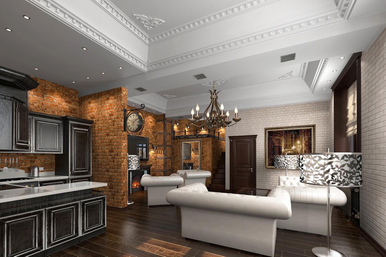 гостиная-лофт в 3d max vray изображение