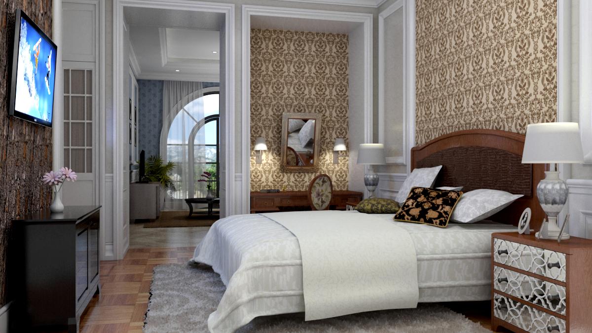 3D-Visualisierung Das Schlafzimmer. Innenarchitektur