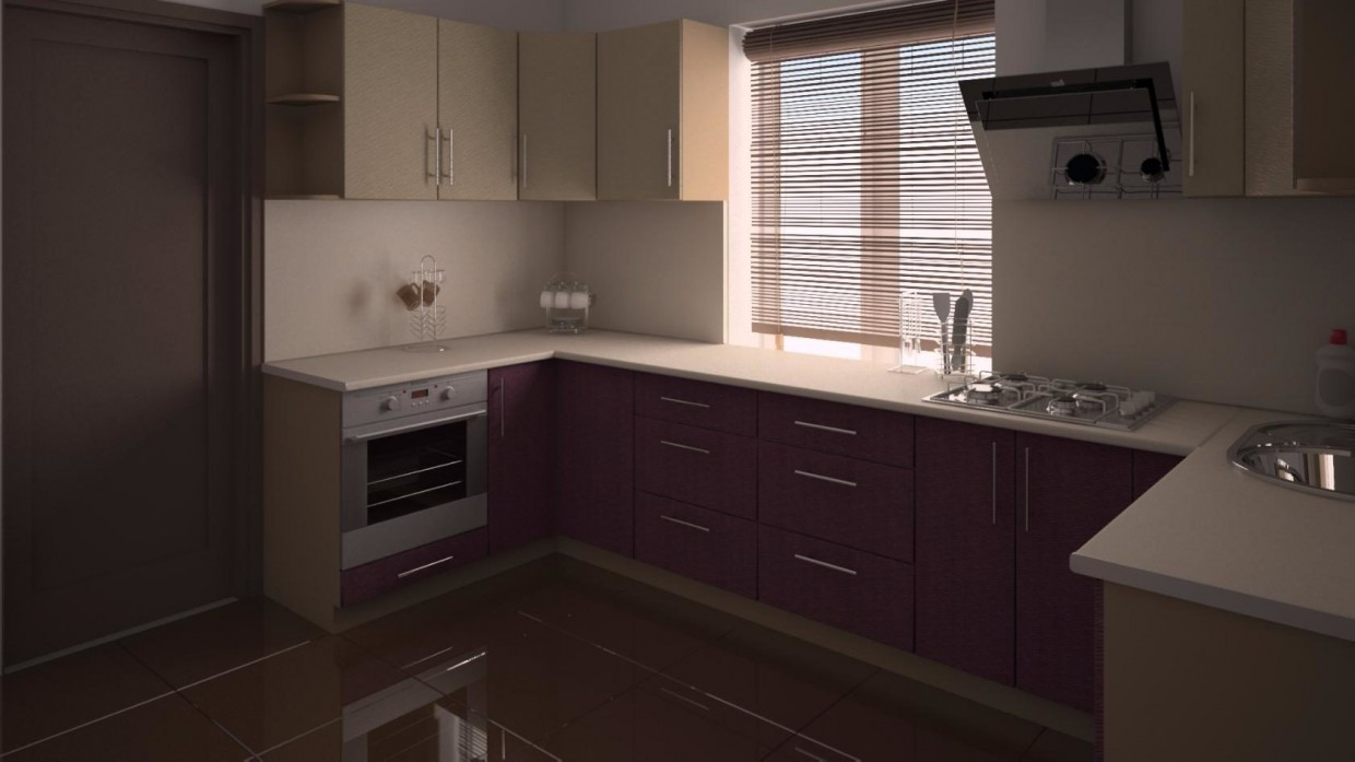 The kitchen in a small house in 3d max vray 2.5 image