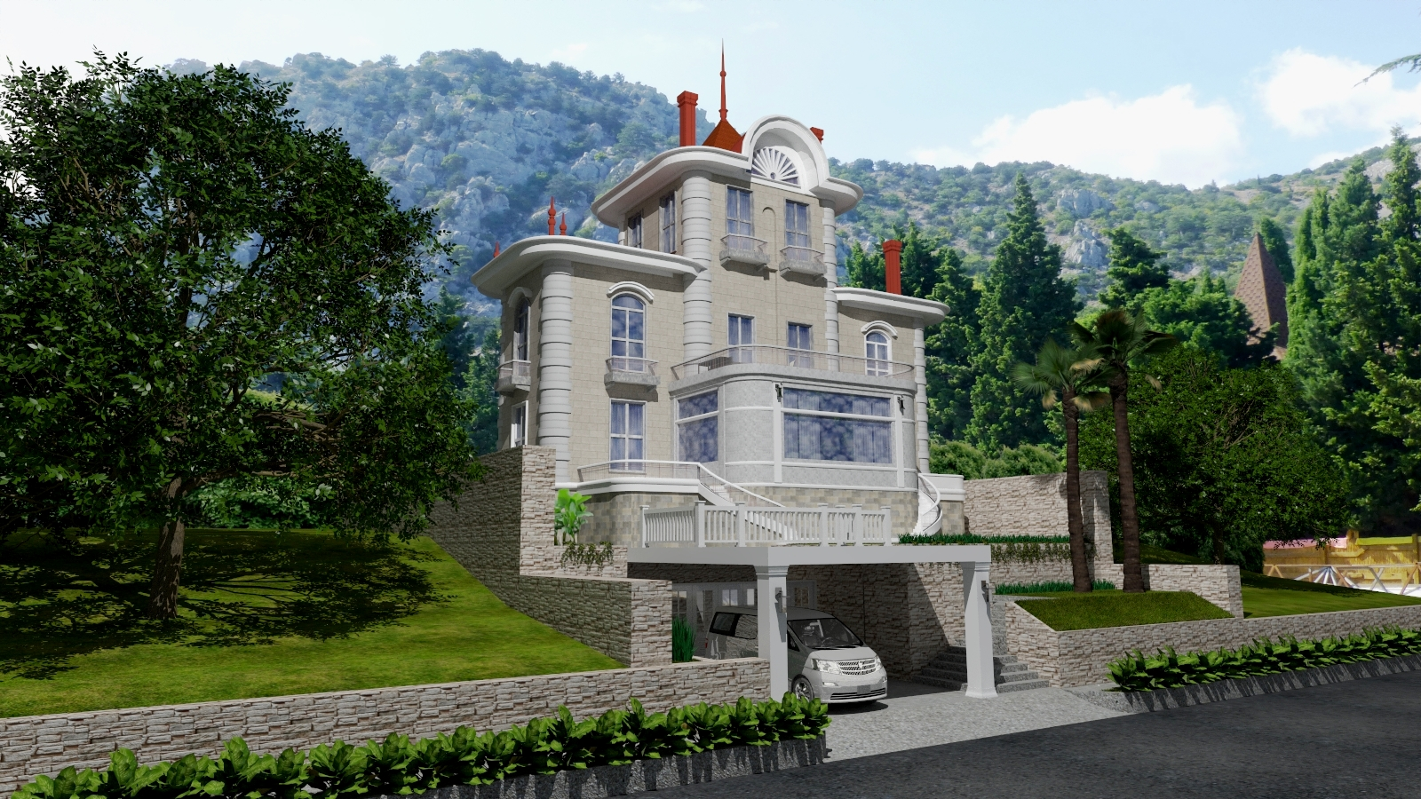 Exterior of the house. in SketchUp vray 3.0 image
