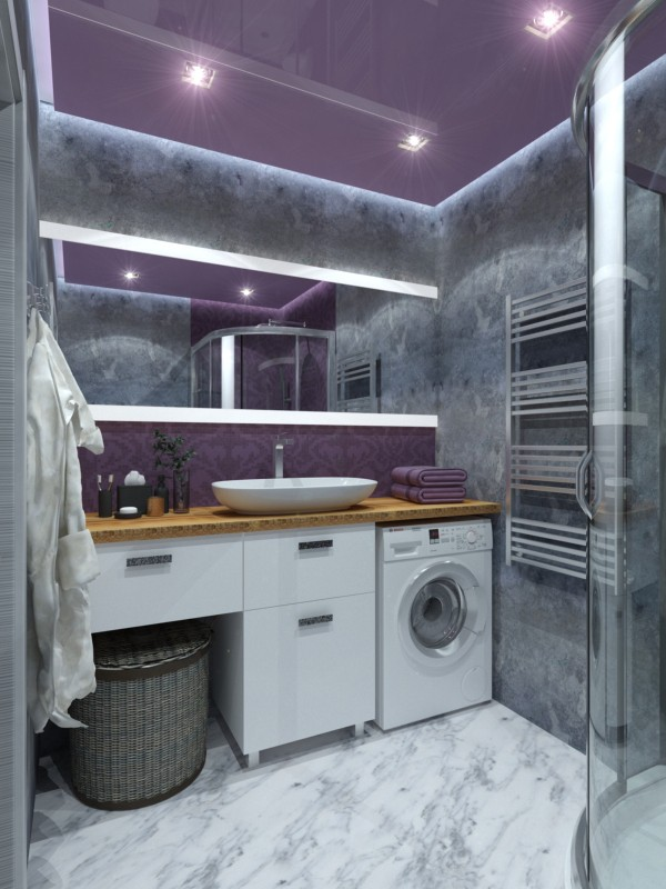 3d visualization of the project in the Purple bathroom Loft 3d max, render vray 2.0 of Yana Tolmacheva