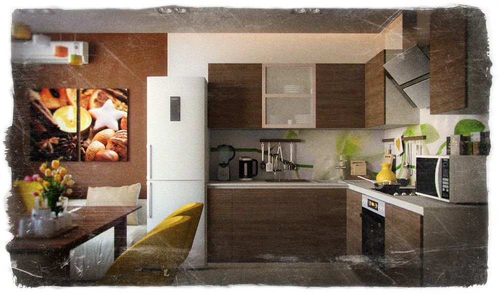 Kitchenette in 3d max corona render image