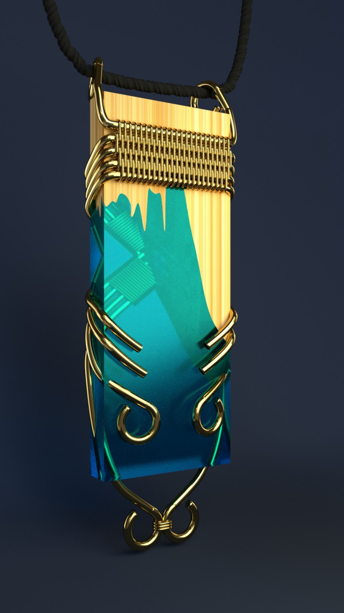 Pendant made from wood and epoxy resin in Blender cycless render image