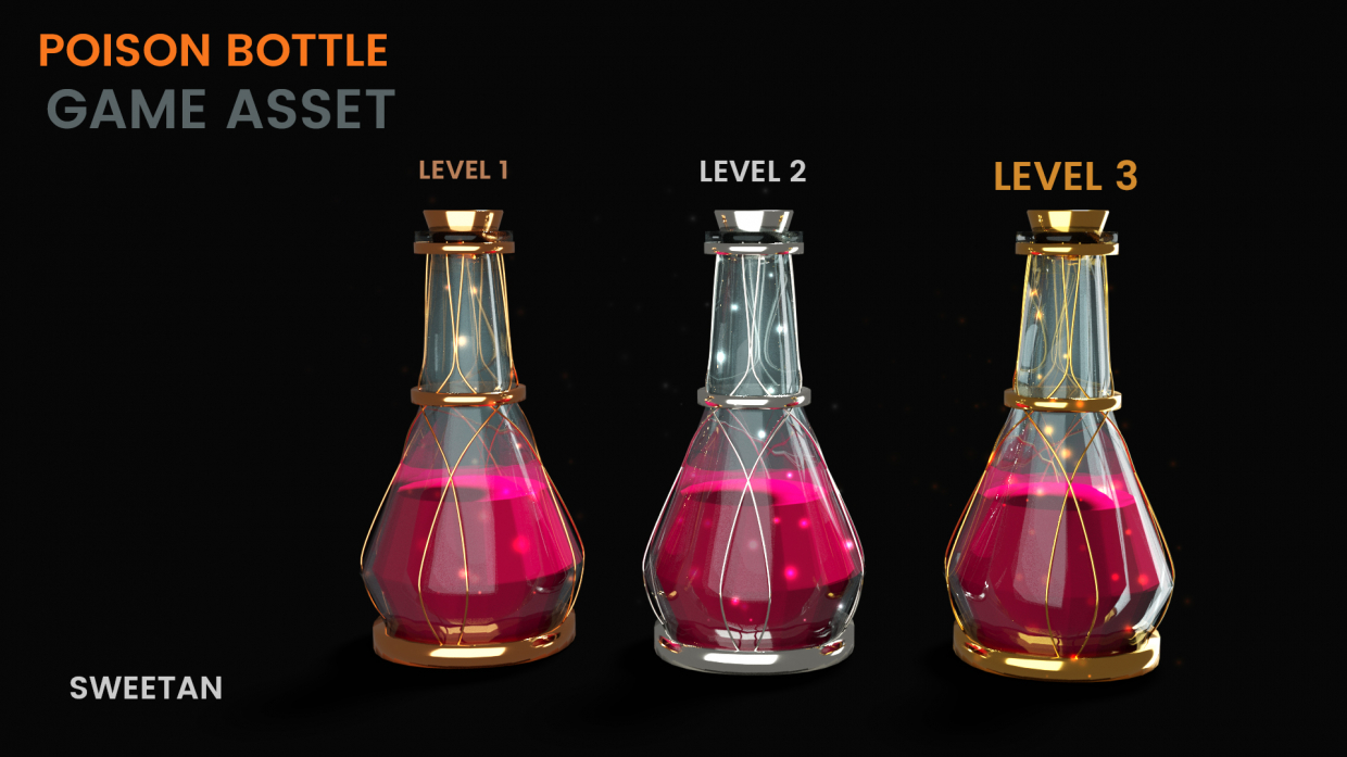3D Poison Bottle - Game asset in Blender cycles render image