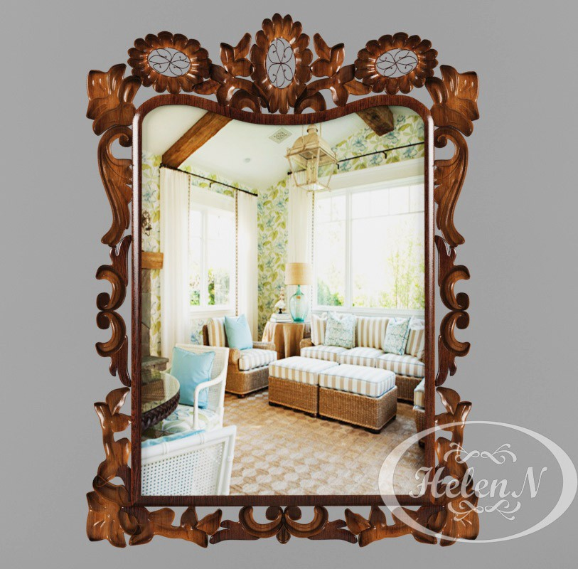 Mirror in wooden frame in 3d max vray 2.5 image