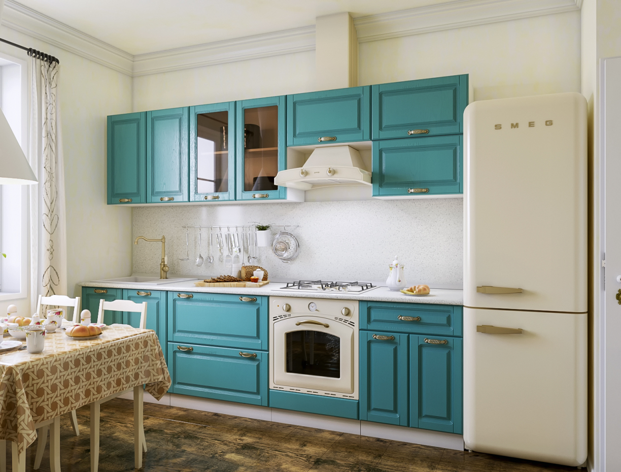 "Kitchen in the style of ""Provence"" in 3d max corona render image"