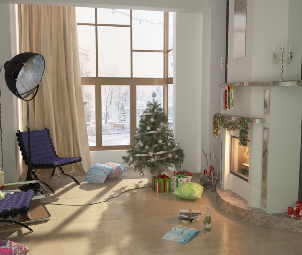 Expecting New Year ) in 3d max vray image