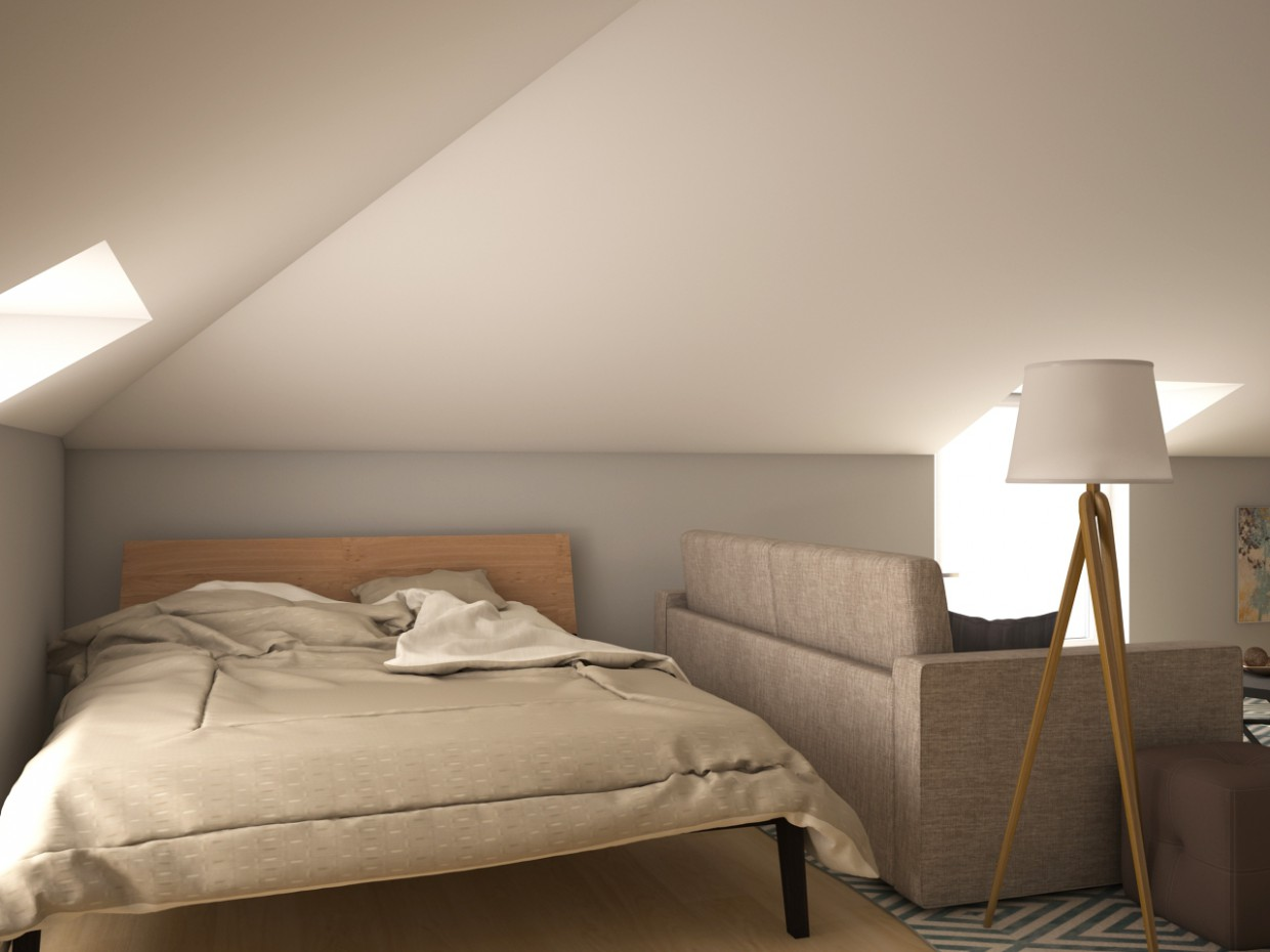 Attic in 3d max vray image