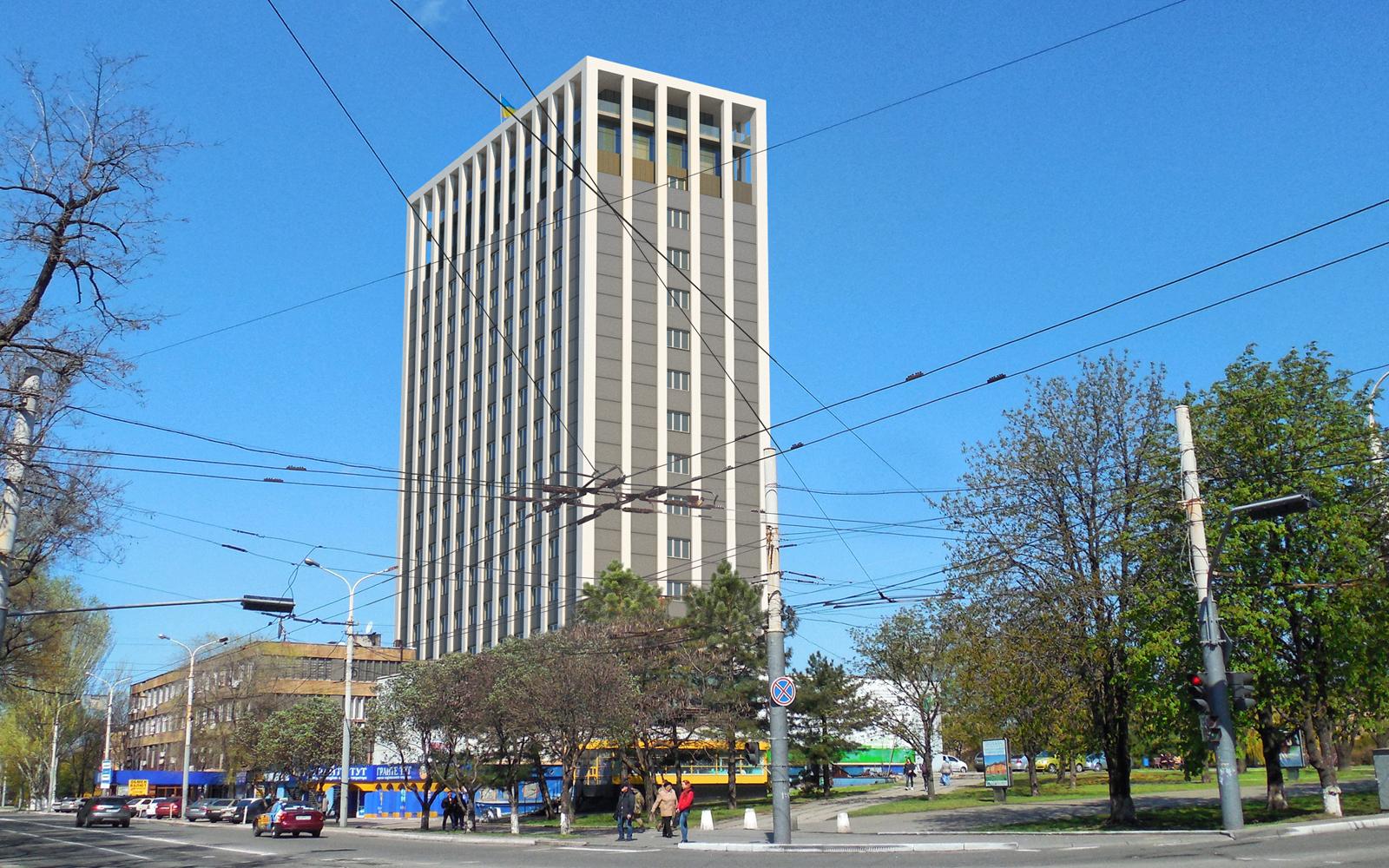 Rekonstruktion des Gebäudes für Business Center in 3d max corona render Bild