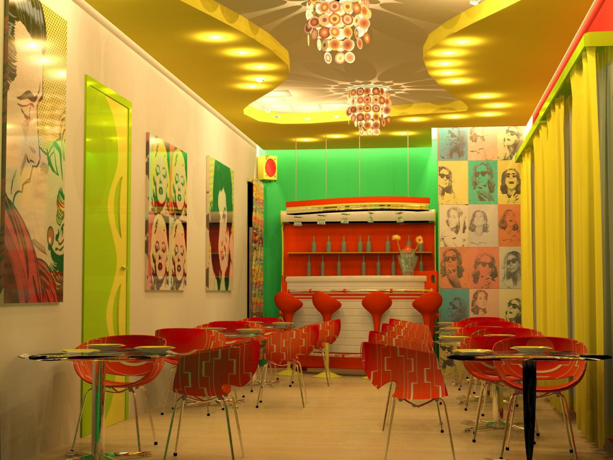 Cafe in the style of pop art in 3d max mental ray image