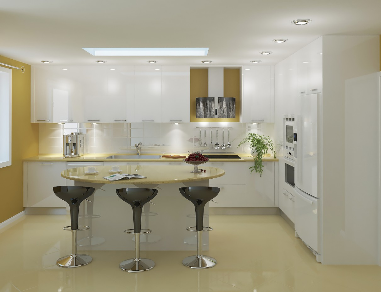 Big kitchen 3D visualization  in  3d max   vray  image