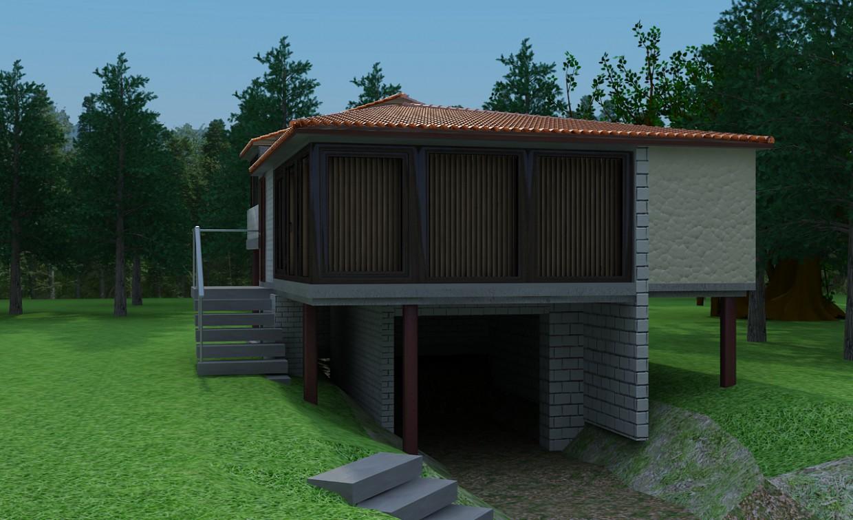 Будинок в лісі в 3d max vray зображення