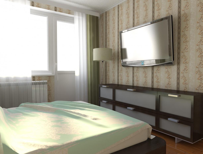 Schlafzimmer in einem neuen Gebäude in 3d max vray Bild