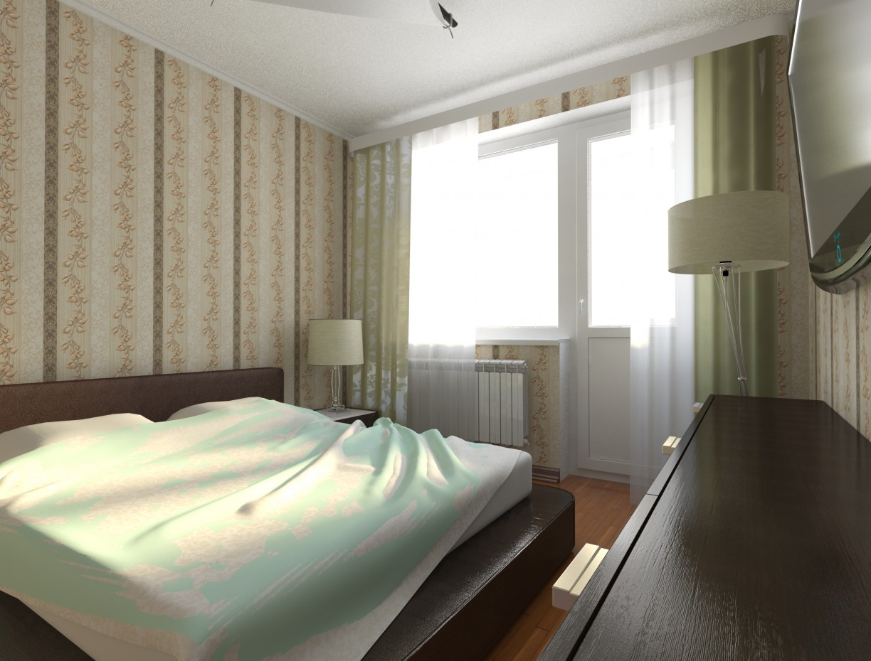 Bedroom in a new building in 3d max vray image