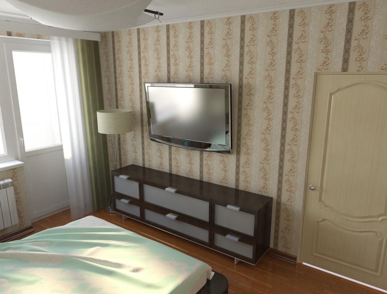 Спальня в новобудові, без ремонту в 3d max vray зображення