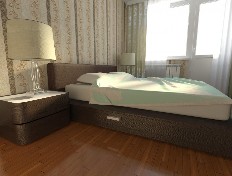 Спальня в новостройке, без ремонта в 3d max vray изображение