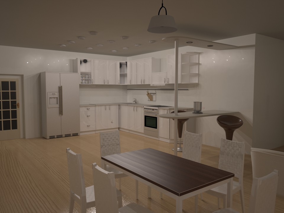 3d visualization of the project in the kitchen 3d max, render vray of konf2012