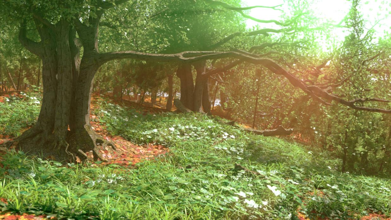ओक ग्रोव Blender cycles render में प्रस्तुत छवि