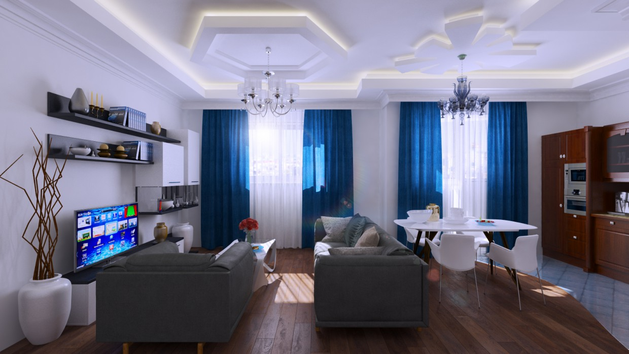 3d visualization of the project in the visualization of living room 3d max, render vray 3.0 of Фёдор Грамматопулос