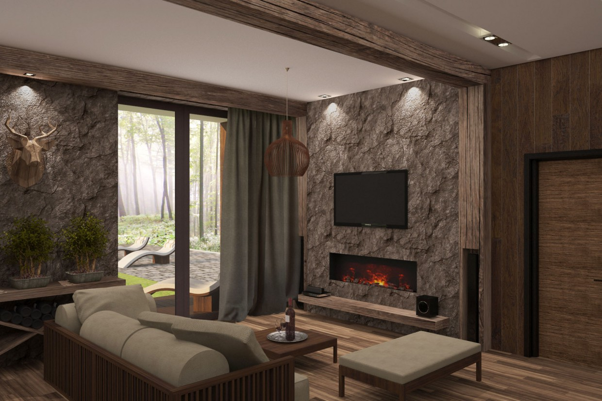 Guest house in ecological style in 3d max vray image