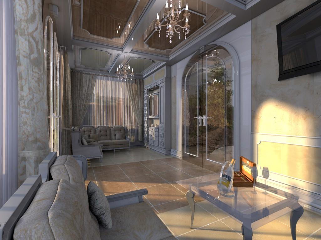 Intérieur de la maison d'été dans 3d max Other image