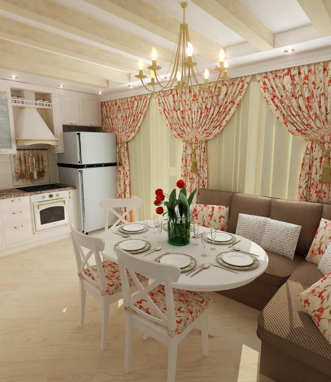 Кухня с легким намеком на прованс в 3d max vray изображение