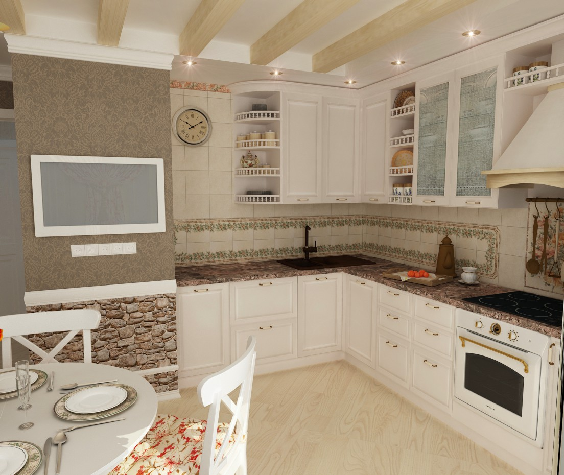 Kitchen with a hint of Provence  in  3d max   vray  image