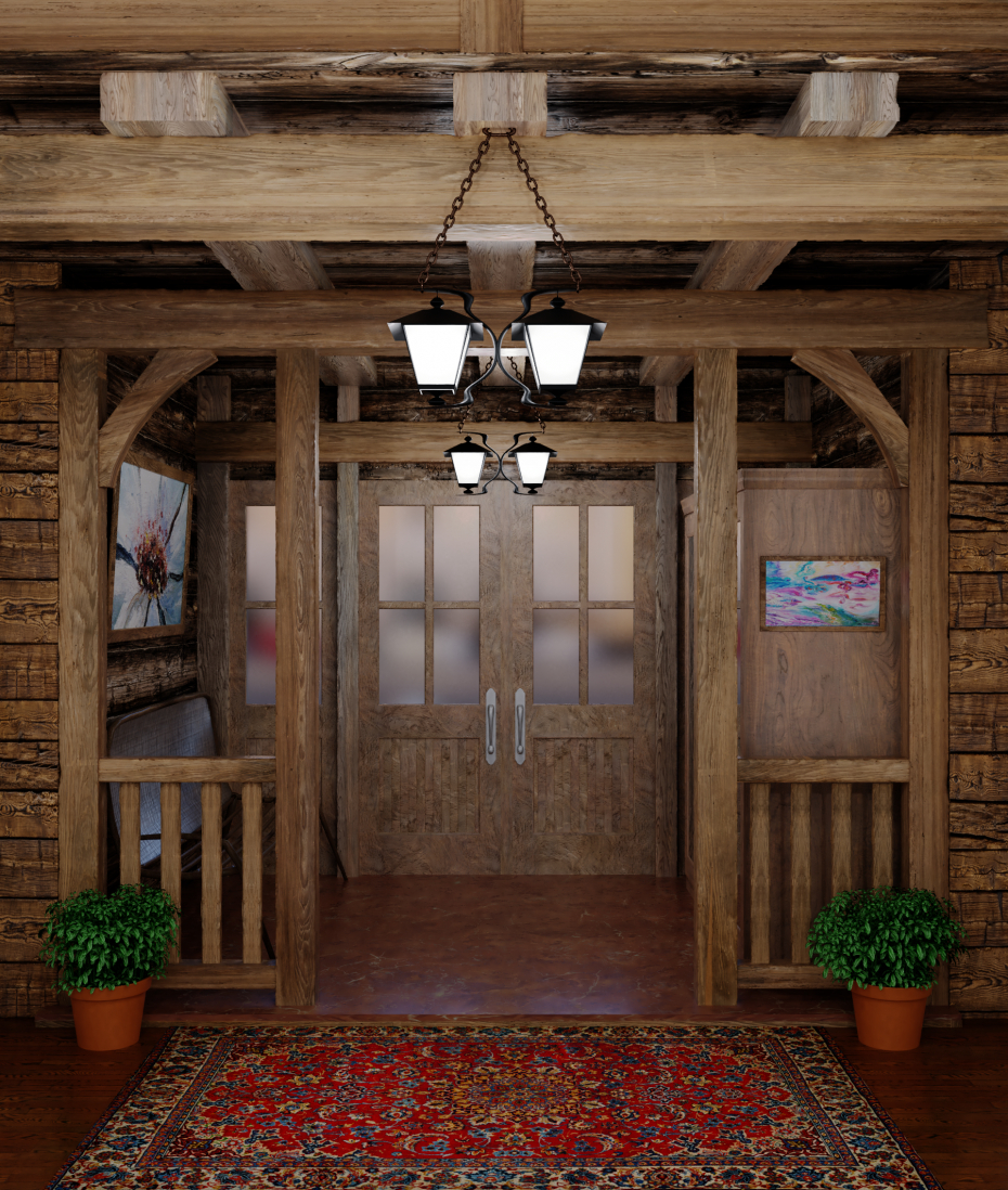 Entrance to the restaurant in Blender cycles render image