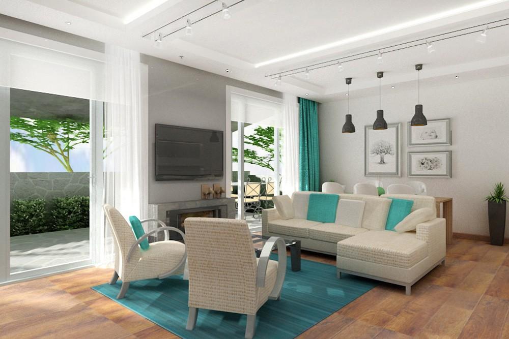 Вітальня в двоповерховому будинку в 3d max vray зображення