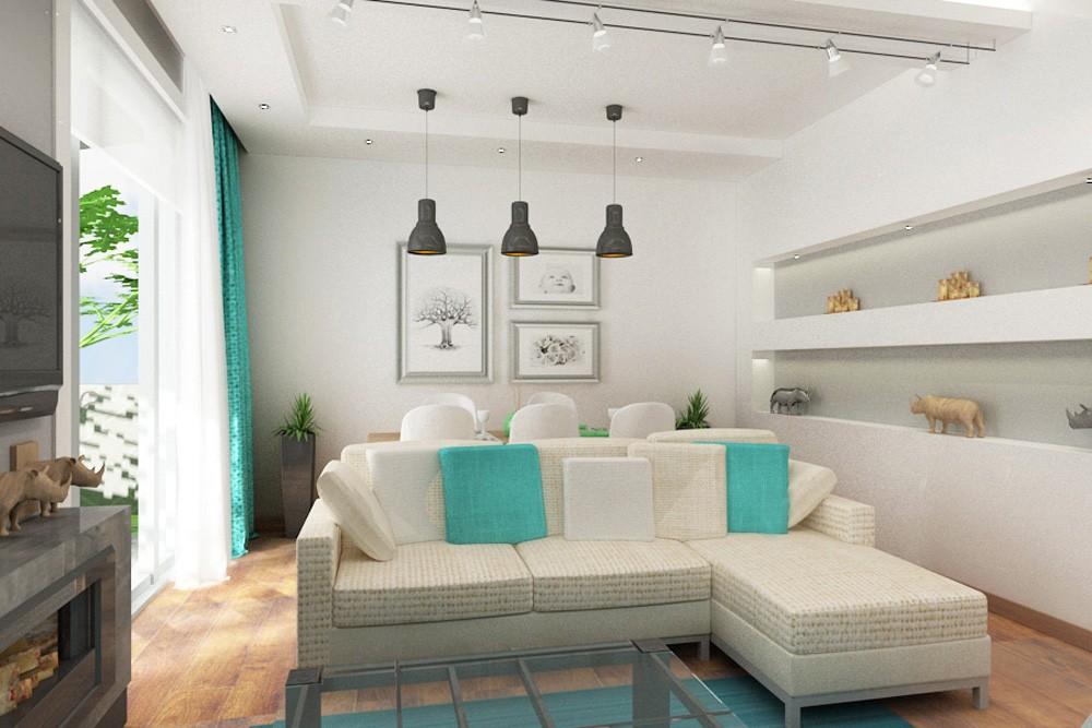 Гостиная в двухэтажном доме в 3d max vray изображение