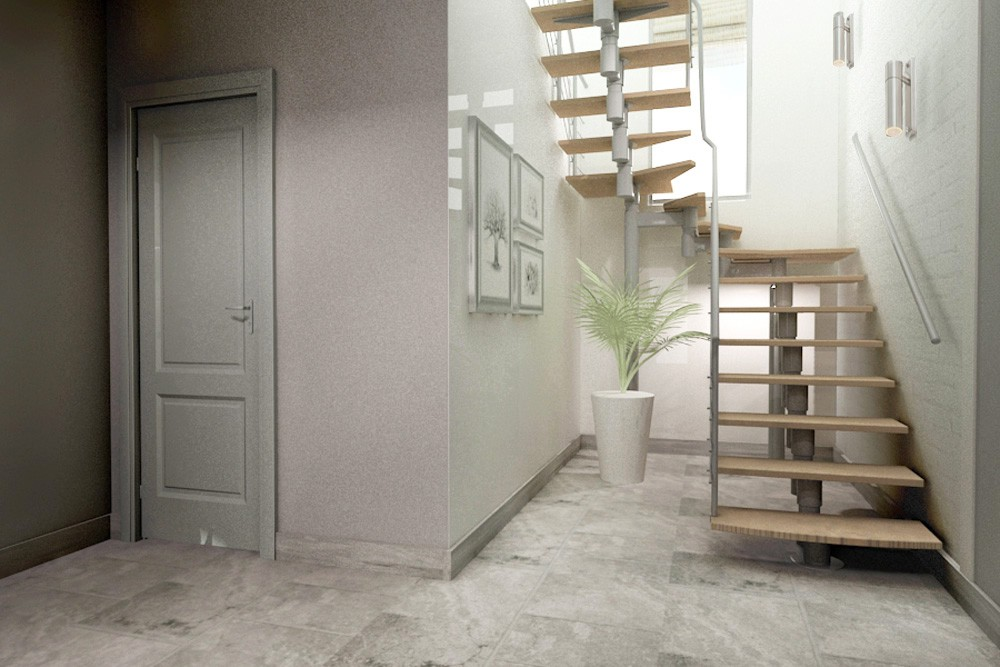 Living in a two-story house in 3d max vray image
