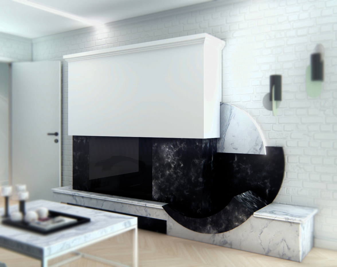 Modern style fireplace in a small apartment. in 3d max mental ray image