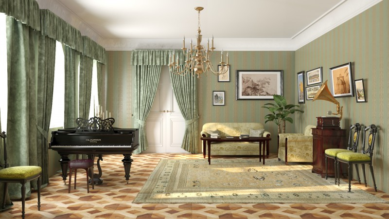 Visualization of the living room in 3d max vray 3.0 image