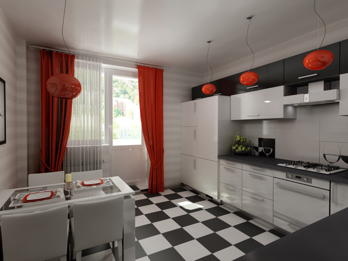 Kitchen 12 sqr m in 3d max vray image