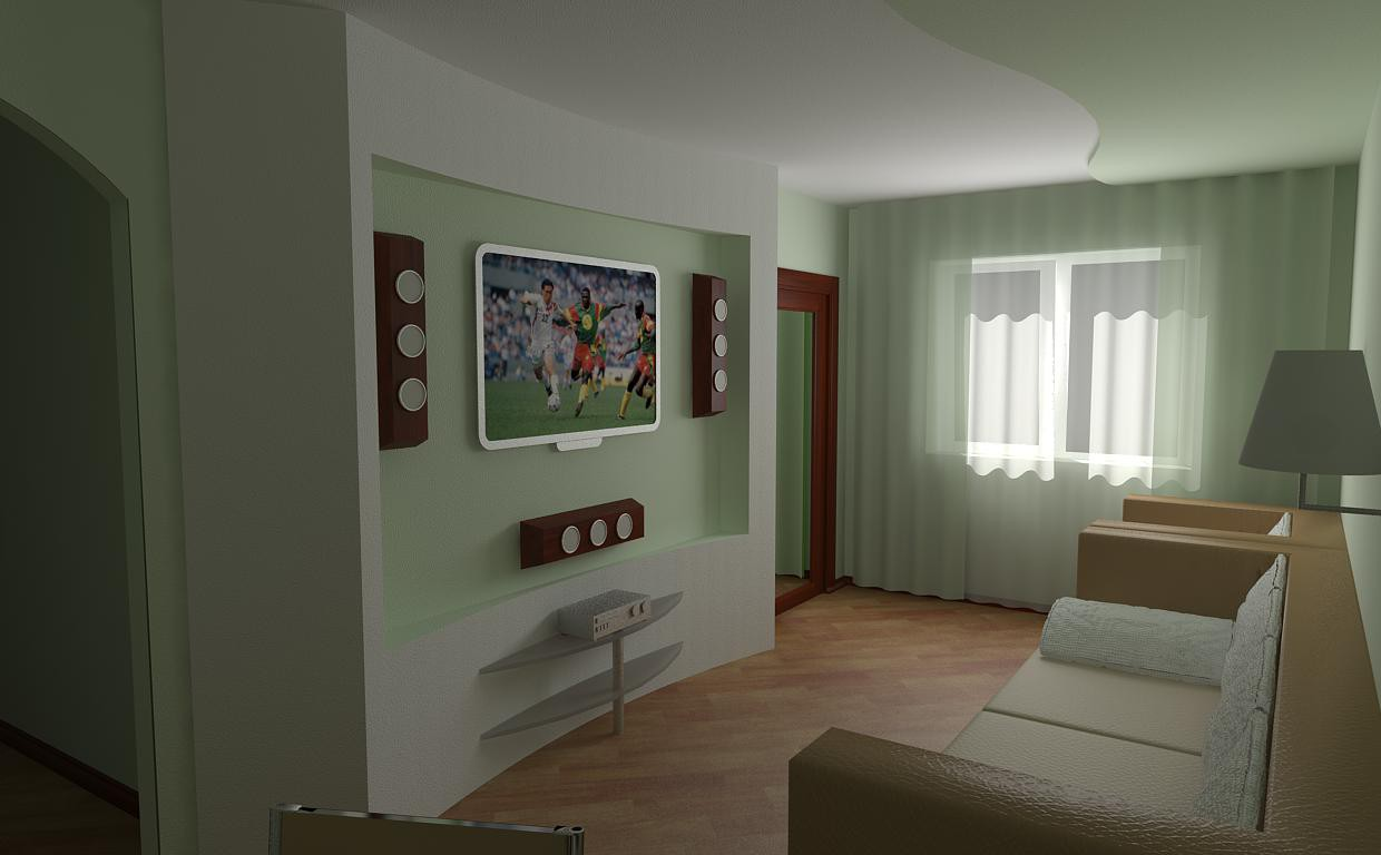 One room flat in 3d max vray image