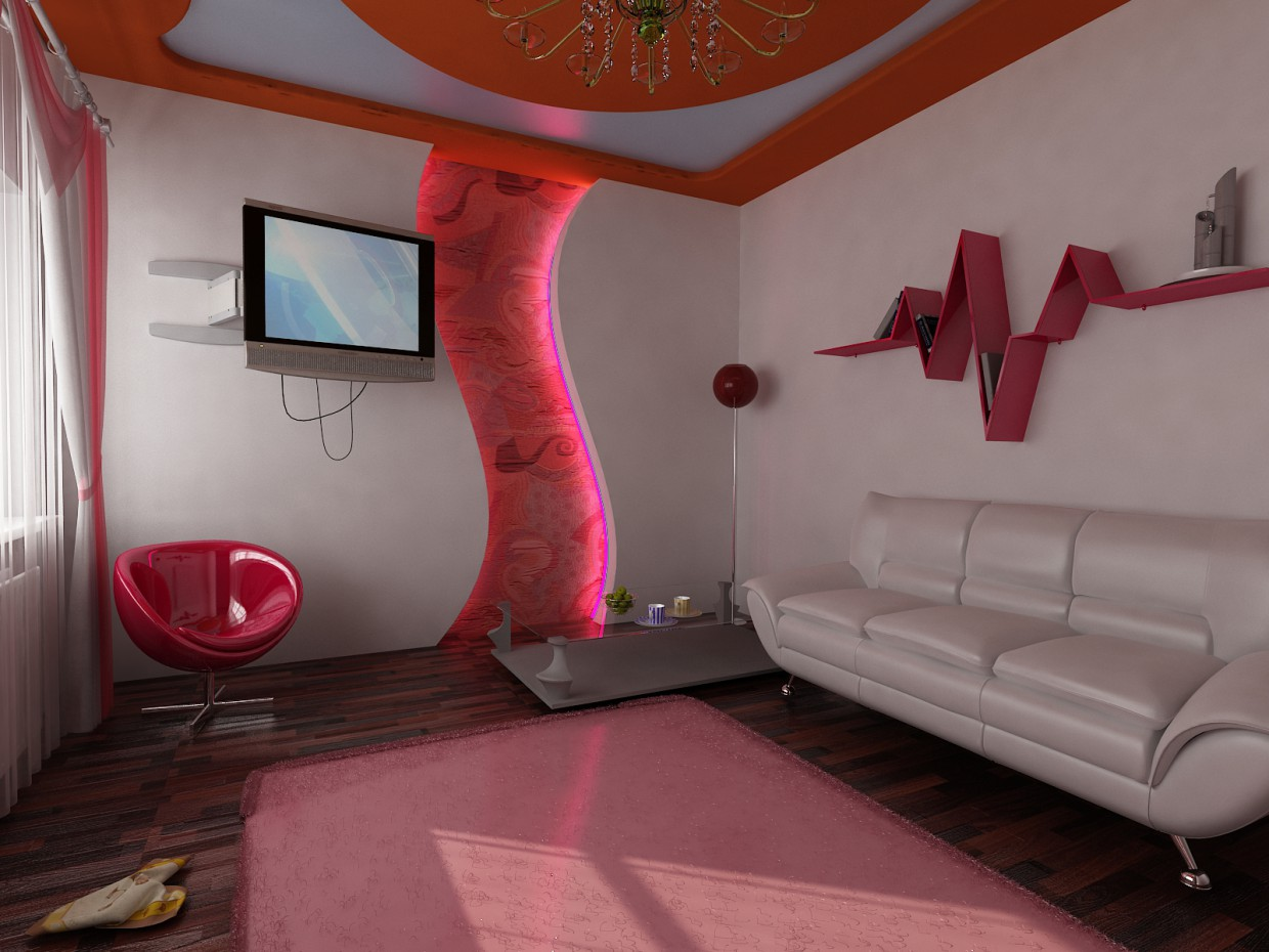 3d visualization of the project in the The room 3d max, render vray of SkyDive