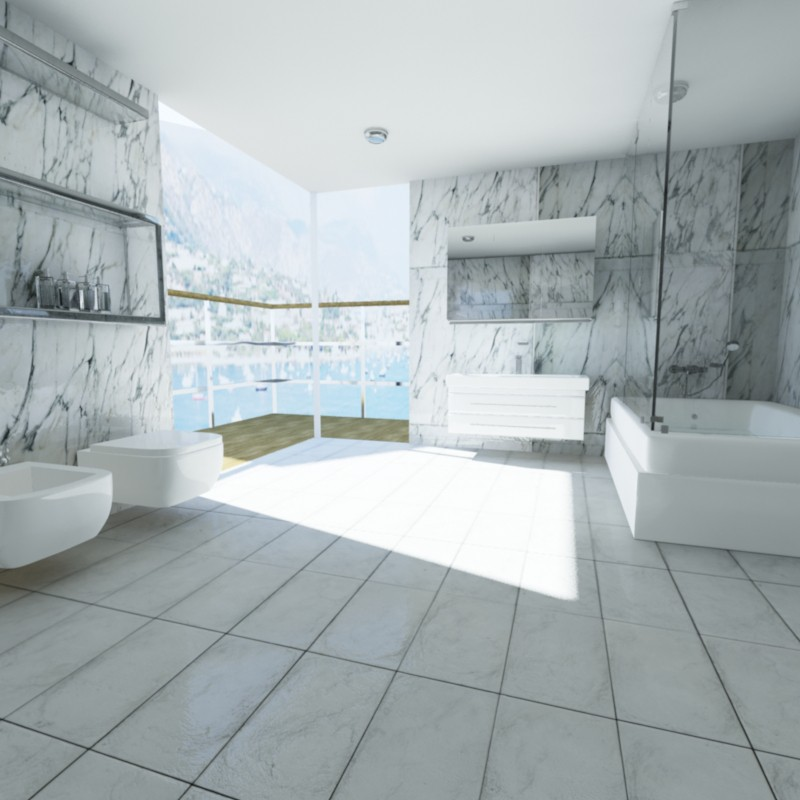 3d visualization of the project in the Bathroom in the hotel room 3d max, render mental ray of psyromati