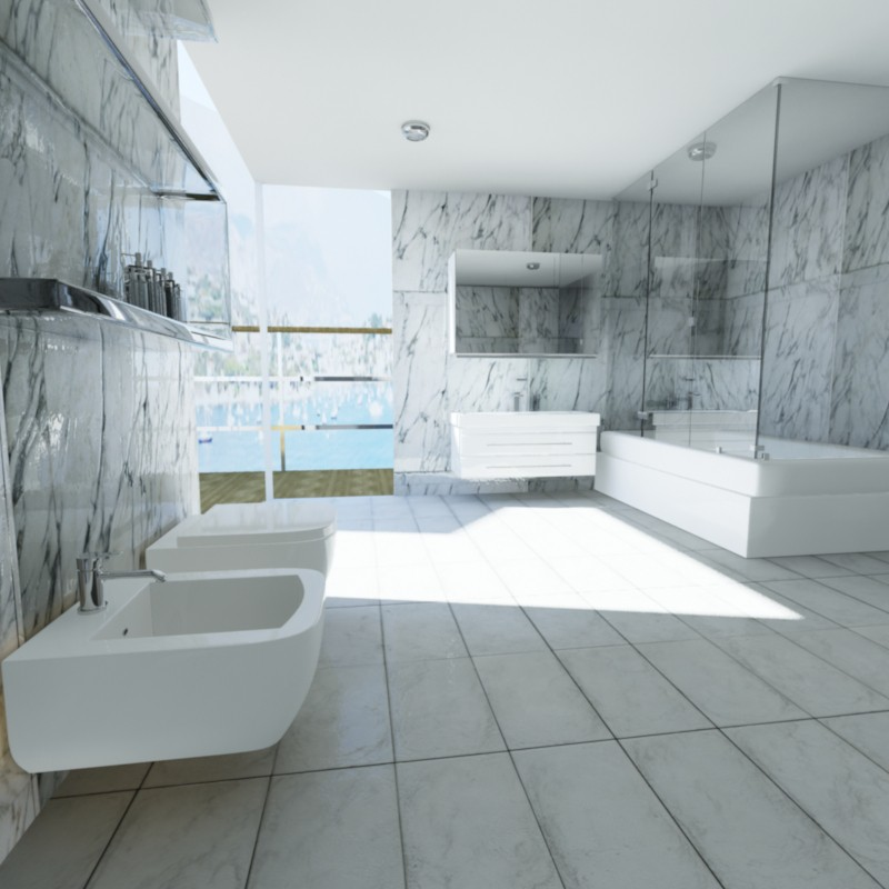 Bathroom in the hotel room in 3d max mental ray image