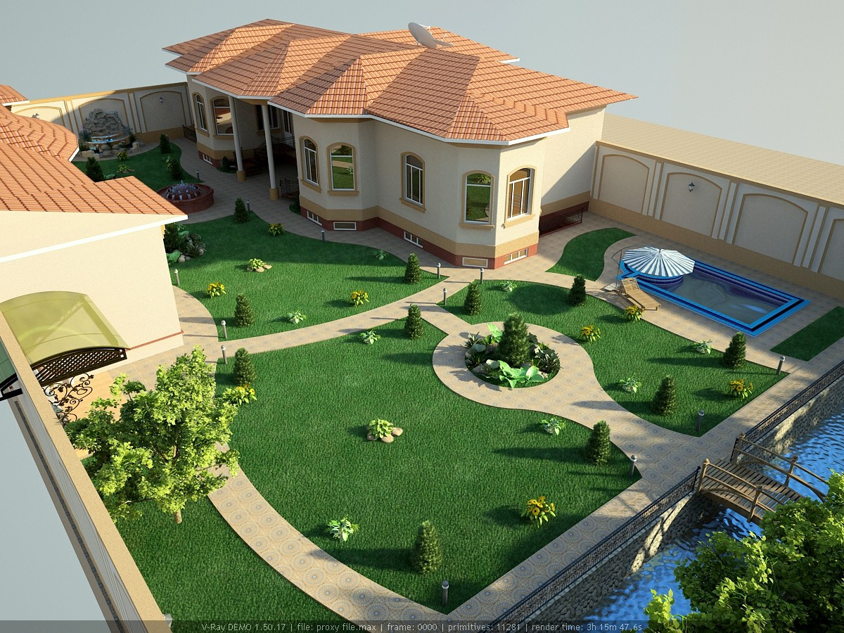 Landscape in 3d max vray image