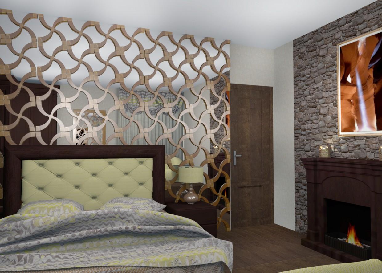 3d визуализация проекта Спальня в Rhino, рендер FinalRender от Helena Che