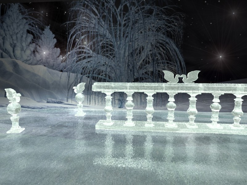 Ice sculpture in 3d max mental ray image