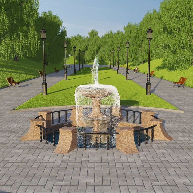 Fountain in the Park in 3d max vray image