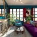 Bohemian boho style living room kitchen