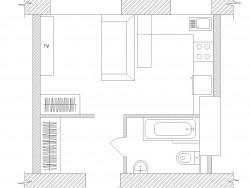 Apartamento - estúdio 23,6 m sqr