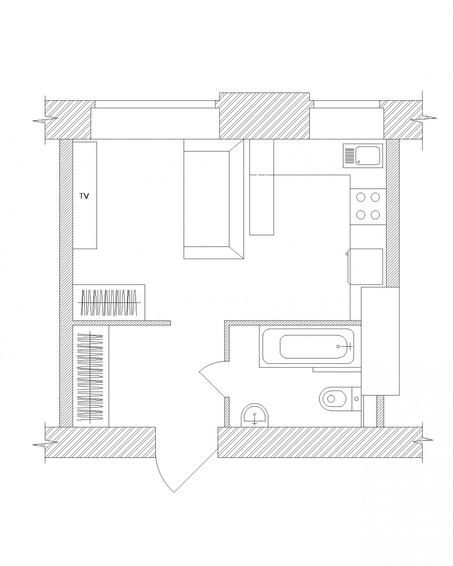 Wohnung - Studio 23,6 Sqr m in 3d max vray Bild