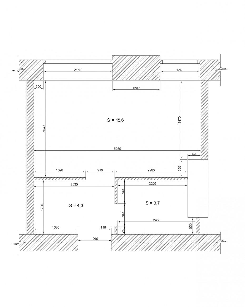 Квартира - студія. 23,6 м.кв. в 3d max vray зображення